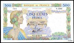 500 FRANCS LA PAIX - Type 1939