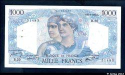 1000 FRANCS MINERVE & HERCULE - Type 1945
