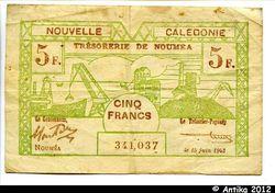 5 FRANCS Cerf-Croix de Lorraine NOUMEA