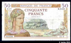 50 FRANCS CERES - Type 1933