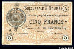 5 FRANCS Jaune Cie de la Nlle Calédonie
