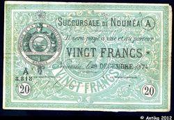 20 FRANCS Vert Cie de la Nlle Calédonie