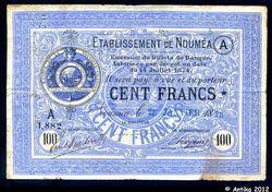 100 FRANCS Bleu Cie de la Nlle Calédonie