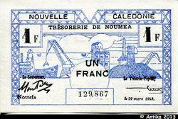 1 FRANC Cerf-Croix de Lorraine NOUMEA
