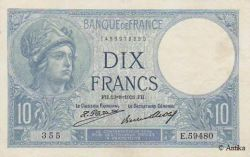 10 FRANCS MINERVE - Type 1915