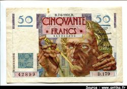 50 FRANCS LE VERRIER - Type 1946