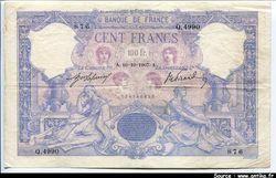 100 FRANCS BLEU & ROSE - Type 1888