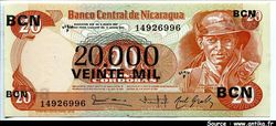 20000  Cordobas Commandant G. Pomares Ordonez  *   *    *