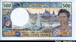 500 FRANCS Polynésien République Française