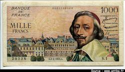 1000 FRANCS RICHELIEU - Type 1953
