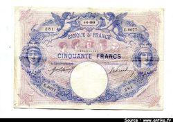 50 FRANCS BLEU & ROSE - Type 1889