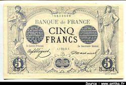 5 FRANCS NOIR - Type 1871