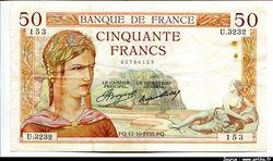 50 FRANCS CERES - Type 1933