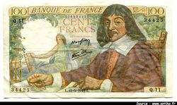 100 FRANCS DESCARTES - Type 1942