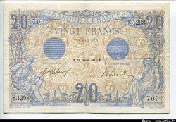20 FRANCS  BLEU - Type 1905