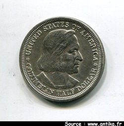 1/2 DOLLAR Argt Exposition Colombienne  RARE