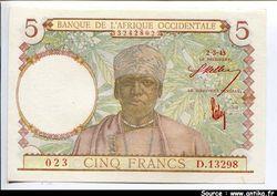 5 FRANCS Tisseran Caféier Chiffre rouge