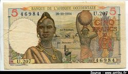 5 FRANCS Jeune Africaine & Poterie