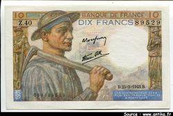 10 FRANCS MINEUR - type 1941