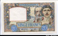 20 FRANCS SCIENCE & TRAVAIL - Type 1940