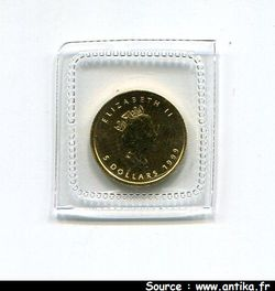 5 DOLLARS (1/10 ème Once) Elizabeth II & Feuille d\'érable  *