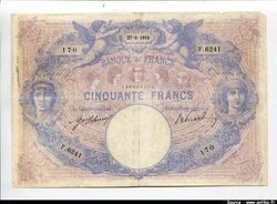 50 FRANCS BLEU & ROSE - Type 1889