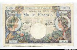 1000 FRANCS COMMERCE & INDUSTRIE - Type 1940