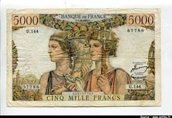 5000 FRANCS TERRE & MER - Type 1949