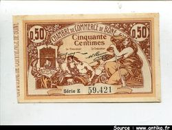 50 CENTIMES Marron Chambre de Commerce BONE