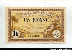 1 FRANC Chambre de Commerce ORAN