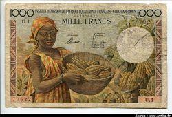 1000 FRANCS Jeune fille & récolte de Cacao