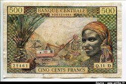 500 FRANCS Femme & mines du Gabon