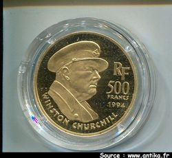 500 FRANCS OR WINSTON CHURCHILL