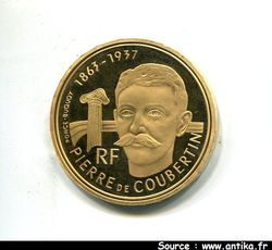 500 FRANCS OR PIERRE DE COUBERTIN  OR