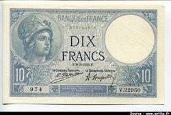 10 FRANCS MINERVE - Type 1915