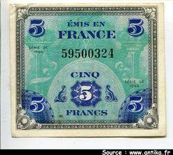 5 FRANCS Verso \