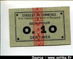 0,10 CENT MOSTAGANEM Syndicat Commerce