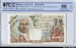 100 FRANCS  LA BOURDONNAIS SPECIMEN