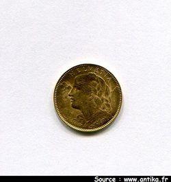10 FRANCS OR HELVETIA  3,22 gr Berne