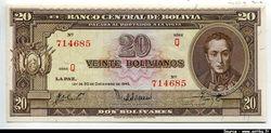 20 Bolivianos Simon Bolivar