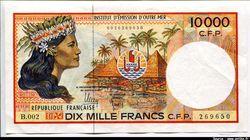 10000 Frs Femme Polynésienne  Huttes & Palmiers  Alph: B.002